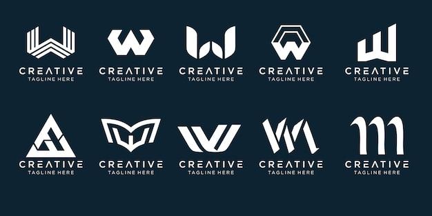 シンプルなファッションスポーツ技術のビジネスのためのモノグラムイニシャルwロゴアイコンセットデザイン