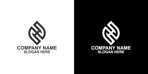 モノグラム葉geenuniqコレクションロゴデザインプレミアムベクトル