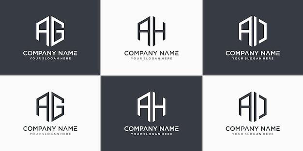 モノグラム文字ag、ah、aiロゴデザインテンプレート