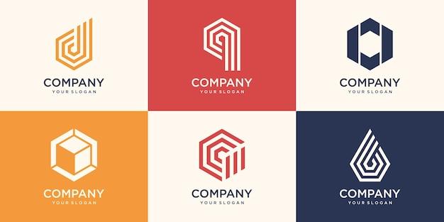 モノグラム文字とストライプのコンセプトのロゴデザインテンプレートと六角形。