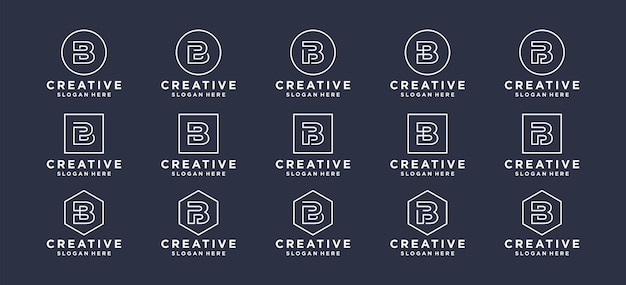 모노그램 문자 b 이니셜 로고 디자인.