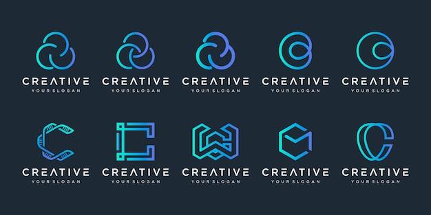 Monogram letter c logo icon set design for business of luxury elegant simple