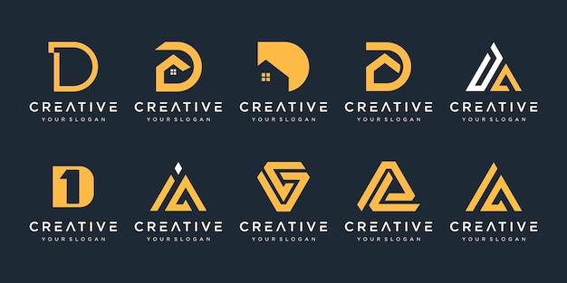 럭셔리 우아한 단순한 비즈니스를위한 모노그램 문자 d 로고 디자인 영감 아이콘