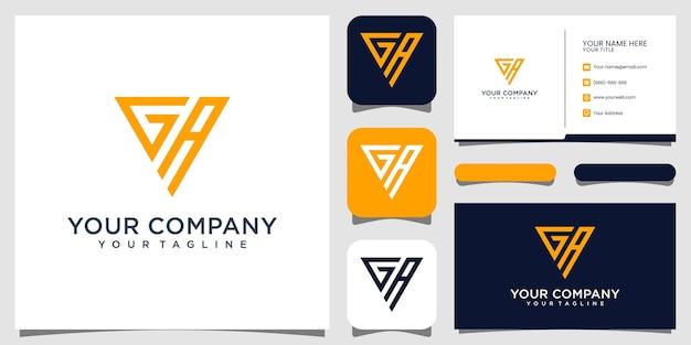 Вензель буква ga, дизайн логотипа и визитная карточка premium vektor