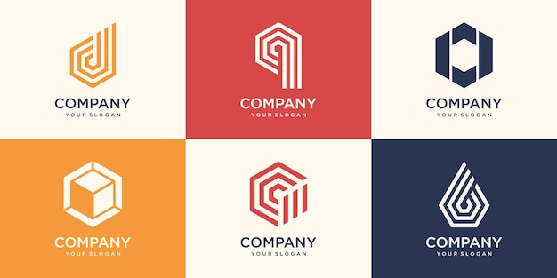 Monogram letter and hexagon with stripe concept logo design template.