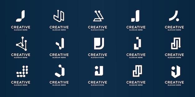 Monogram letter j logo collection design template. symbol for business company, identity, technology, corporate design element. premium vector