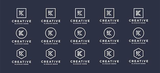 パーソナルブランド、企業、会社のモノグラム文字kロゴデザイン。
