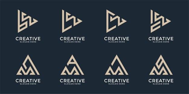 モノグラム文字ロゴデザインテンプレートセット
