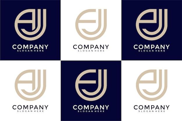 Monogram letter logo design template set