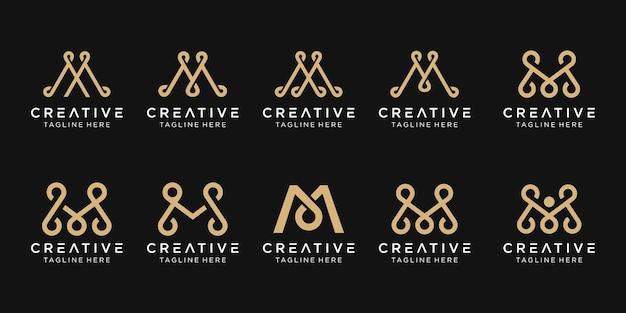 Монограмма буква m логотип значок набор дизайн иконок для бизнеса моды роскоши простой