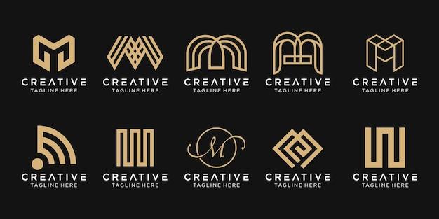 Монограмма буква m логотип значок набор дизайн иконок для бизнеса моды спорт строительство простой