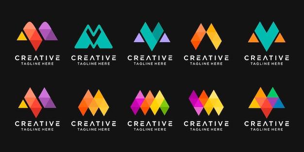 モノグラム文字mロゴアイコンセットデザインアイコンファッションスポーツデジタル技術のビジネス