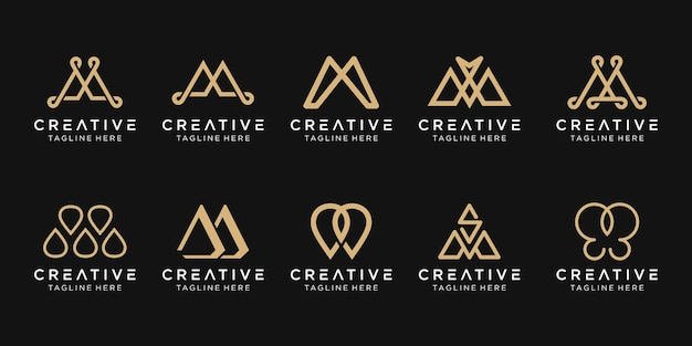 Monogram letter m logo template icons for business of fashion luxury simple