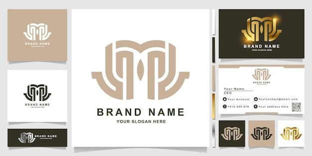 Вензель буква m или мост, как шаблон логотипа лица совы с дизайном визитной карточки