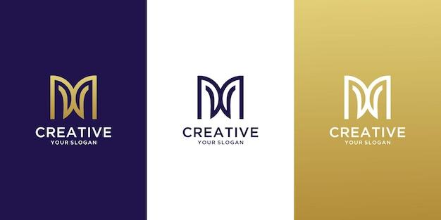 Monogram letter mw logo design