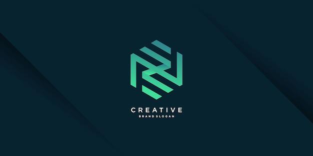 독창적이고 현대적인 개념과 그라데이션 스타일 파트 10이 포함된 모노그램 문자 n 로고