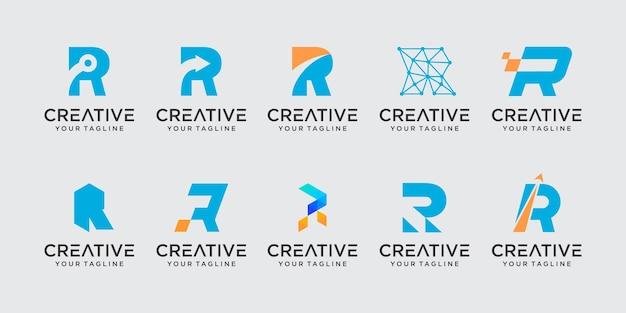 Вензель буква r rr логотип набор иконок для бизнеса моды спорт автомобильный