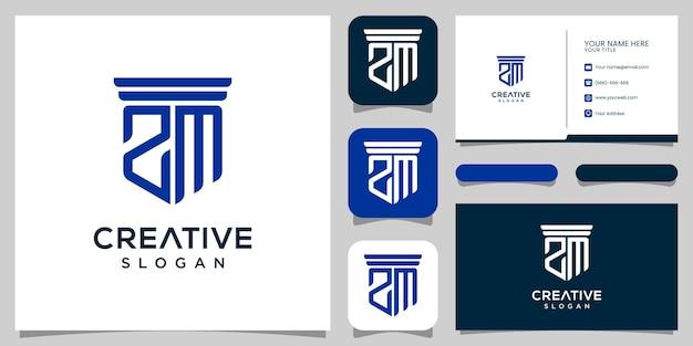 モノグラム文字sm法律事務所のロゴデザインと名刺プレミアムベクトル
