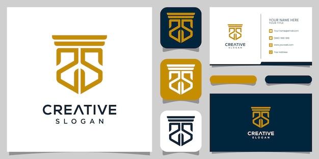 モノグラム文字ss法律事務所のロゴデザインと名刺