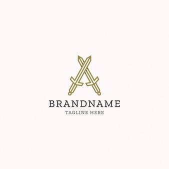 Monogram letter a sword logo design template