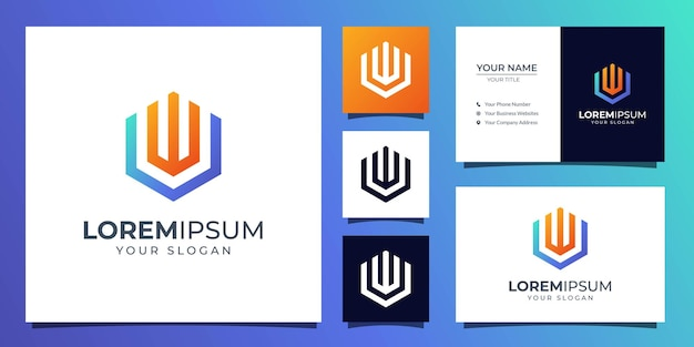 Monogram letter u and w logo with business card template