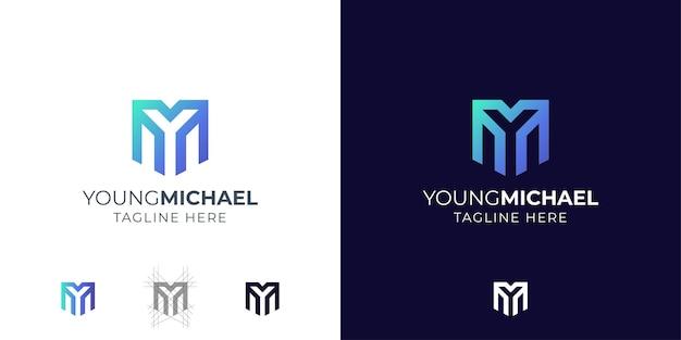 モノグラム文字yとmのロゴデザインのインスピレーション