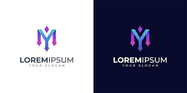 モノグラム文字yとmのロゴデザイン