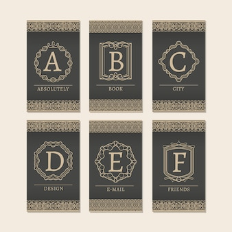 Monogram letters a to f cards
