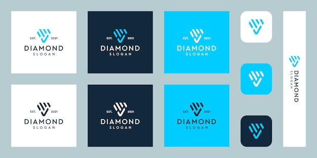 Monogram logo and check mark with abstract diamond shapes