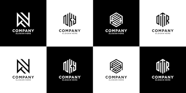 Monogram logo design collection. creative initial letter logo for fashion clothing brand boutique etc