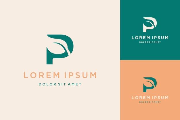 Monogram logo design or initials p with natural leaves