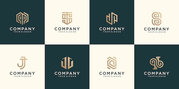 Monogram logo set flat design gold color designs in abstract modern minimalist flat for business