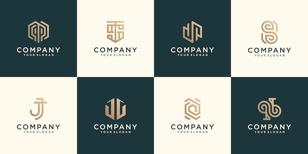 모노그램 로고는 비즈니스를위한 추상적 인 현대적인 미니멀리스트 플랫 디자인 골드 컬러 디자인을 설정합니다.