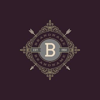 活気づく書道のエレガントな装飾要素を持つモノグラムのロゴのテンプレート。