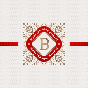 Monogram logo template with flourishes calligraphic elegant ornament elements.