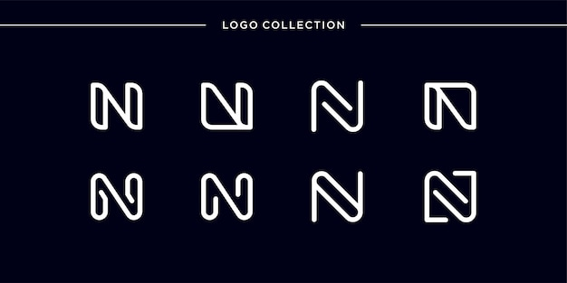 Monogram logo with line art style letter n, smooth, beauty, initial, monogram logo, line art logo