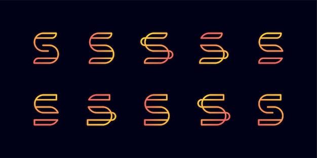 라인 아트 스타일 문자 s, 부드러운, 아름다움, 이니셜, 모노그램 로고, 라인 아트 로고가있는 모노그램 로고