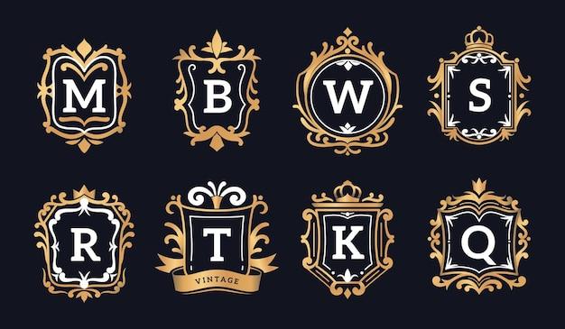 Логотипы с монограммами. роскошное каллиграфическое элегантное золотое украшение для ресторана, отеля или бутика