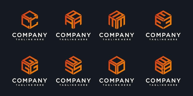 Monogram logos made of cubes with initial letter logo design abstract