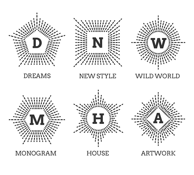 モノグラムロゴセット。星四角五角形の六角形の形。