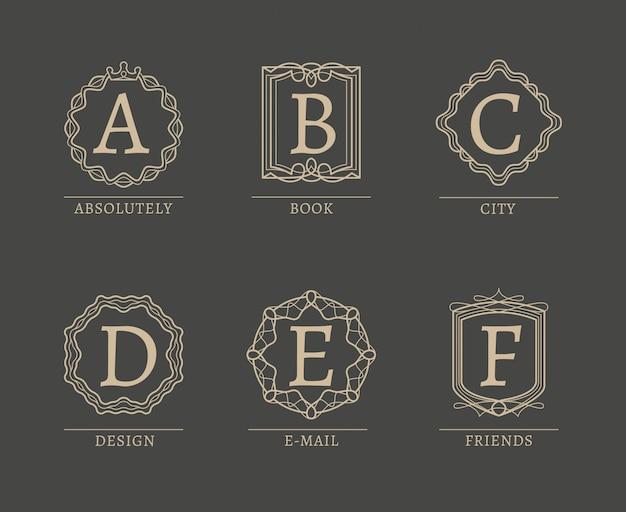 Monogram logos in trendy line vintage style