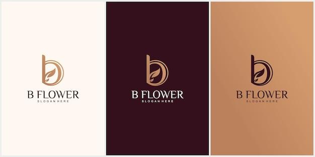 Monogram luxury letter b floral logo icon vintage floral design concept with fancy b letter