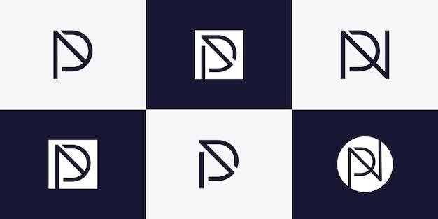 Monogram luxury letter logo with initial p premium vector