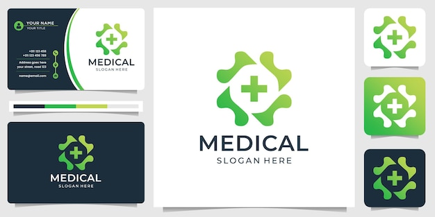 Monogram medical line logo and business card template