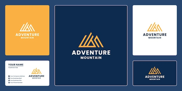Monogram mountain with letter a logo design with business card