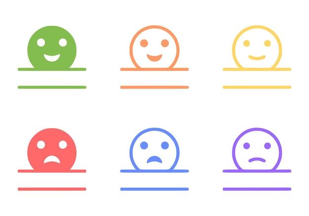 Monogram positive and negative emoticon set, vector clip art