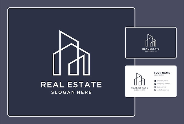 Monogram real estate logo with business card design.