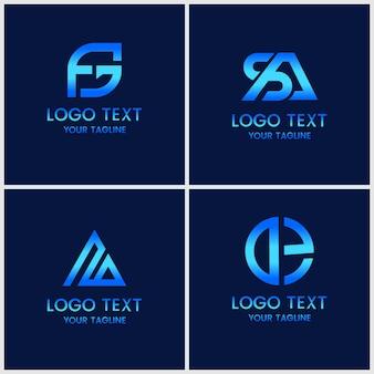 ロゴデザインテンプレートのモノグラムセット