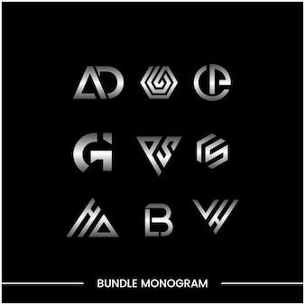 로고 디자인 서식 파일의 모노그램 세트