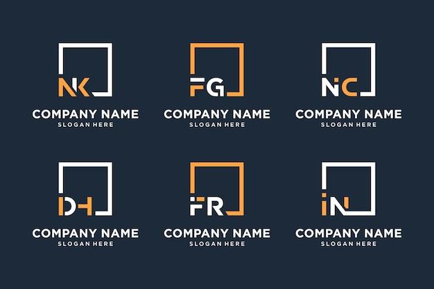 Monogram square logo design